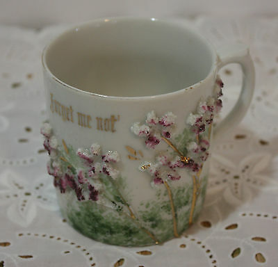 Vintage Altenburg Saxony Forget Me Not China Cup Applied Purple Flowers 3 x 3.25