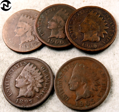 (5) 1800's+1900's Mixed Indian Head Penny Lot // Good or Better