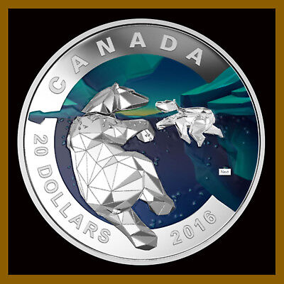 Canada 20 Dollars 2016, Silver proof Coin, Geometry in Art Polar Bear, W/ Box