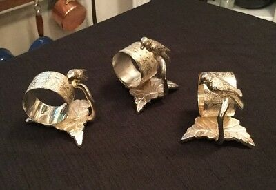 Set (3) Two's Company Silverplate Bird On Branch & Leaf Figural Napkin Rings