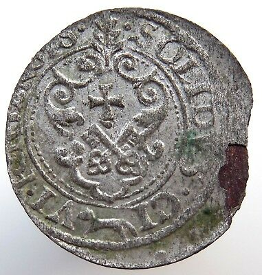 Riga 1621 Ad Shiling Medieval Hammered Silver Coin Rare!
