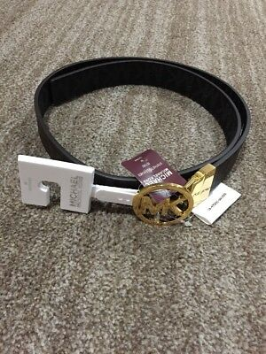 New Michael Kors Women's Reversible MK Logo Belt Brown / Black / Vanilla 551342