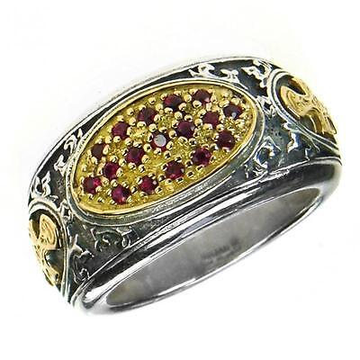 Gerochristo 2660 ~ Solid Gold, Silver & Rubies  -  Medieval-Byzantine Cross Ring