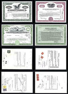 4 Stock Certificates with revenues issued between 1941 and 1966 - Lot # 605