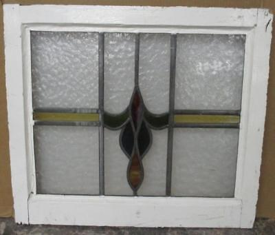 "MID SIZED OLD ENGLISH LEADED STAINED GLASS WINDOW Streaky Abstract 23.75"" x 21"""