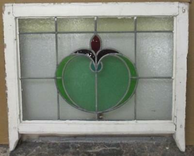 "MID SIZED OLD ENGLISH LEADED STAINED GLASS WINDOW Bulbous Floral 24.75"" x 20.5"""