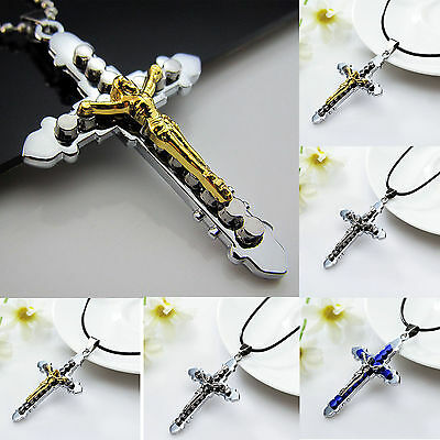 Fashion Men Women Silver Gold Titanium Steel Cross Pendant Necklace Chain Gift