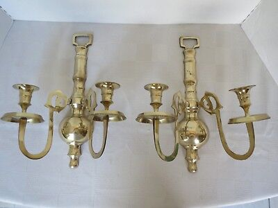 Vintage Antique Pair of Heavy Brass Wall Sconce 2 Arm Candle Holder