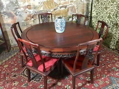 7Piece~Vintage Oriental Rosewood Dining Suite~Chairs+Table~Chinese