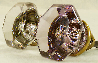 2 Antique 8 Pointed Glass Door Knobs: 1 Lavender Amethyst Purple, 1 Clear
