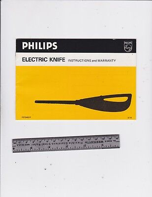 Philips Electric Knife Instructions  And Warranty Brochure