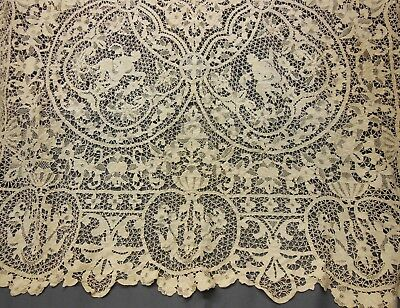 Antique POINT DE VENISE Needle Lace Tablecloth Figural Cherubs Victorian 85x63