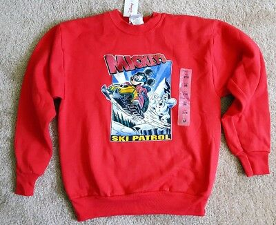 Vintag KIDS Disney Mickey Mouse Mickey's Ski Patrol Sweatshirt M 7/8 Small Child