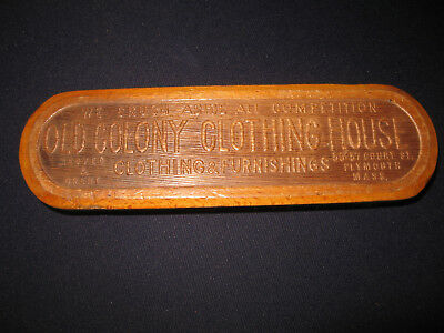 Antique Wood Advertising Brush Outfitter Old Colony Clothing House Plymouth Ma