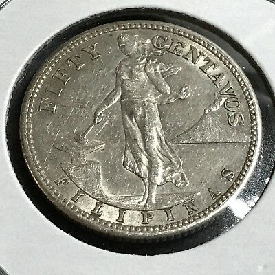 Philippines 1907-S 50 Centavos Silver Near Uncirculated Coin