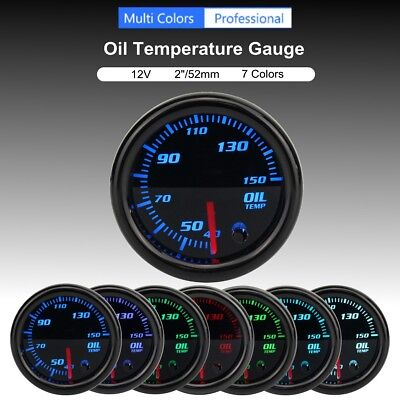 Universal 2'' 52mm Oil Temperature Gauge Meter w/ Sensor 7-Color LED Tinted Face