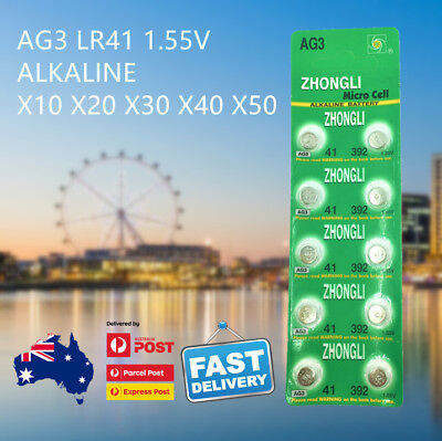 AG3 LR41 392 SR41 192 Button Coin Cell Alkaline Battery AU Free Shipping