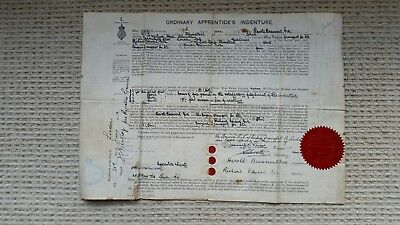 Antique Ordinary Apprentices Indenture Certificate to serve at Sea Ship Co 1910