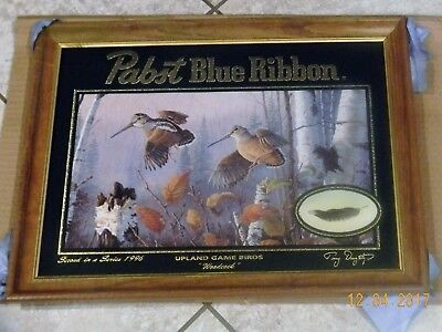 Pabst Blue Ribbon Beer Mirror Sign WOODCOCK Upland Game Bird PBR