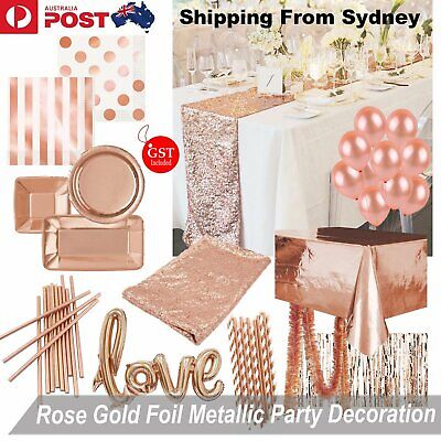 Rose Gold Foil Metallic Party Decoration Balloon Plates Table Cloth Runner Bever