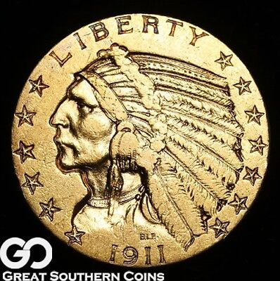 1911-S Half Eagle, $5 Gold Indian ** Free Shipping!