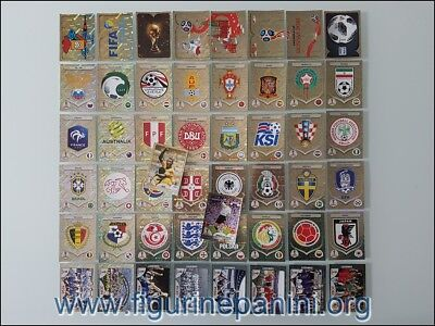 Panini Russia 2018 Wc - Complete Set Badge + Shiny 50 Stickers Red Back