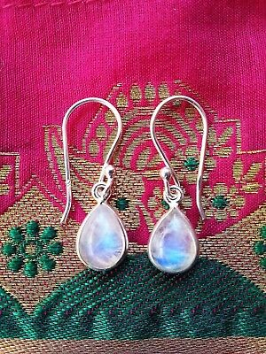 315b Rainbow Moonstone tearddrop Solid 925 Sterling Silver earrings rrp$39.95