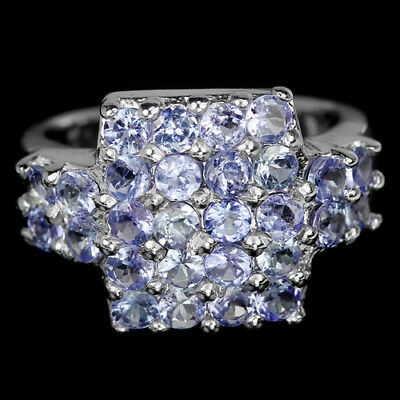 Alluring Natural Blue Tanzanite Round Sterling 925 Silver Ring Size 6