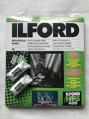 "Ilford Multigrade IV RC Deluxe Resin Coated Black & White 8x10"" 25 sheets"
