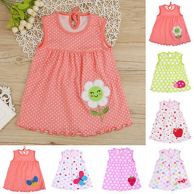 Baby Girls Sleeveless Summer Vest Dress Kids Cartoon Embroidery O-Neck Clothes