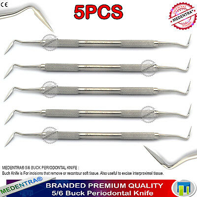 5PCS Periodontal Knife 5/6 Buck Knives Gingivectomy Perio Gum Tissue Instruments