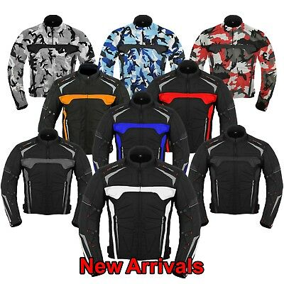 Mens Motorcycle Waterproof Cordura Jacket Motorbike Textile Coat CE Armoured New