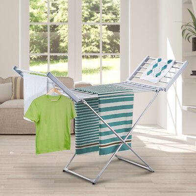 20 Rods Electric Clothes Dryer Heated Towel Rail Airer Hanger Laundry Rack New