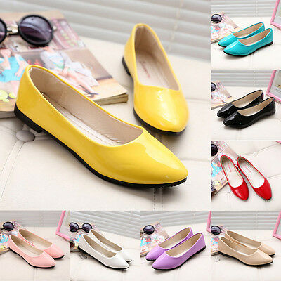 Women Flat Pumps Comfy Pointed Toe Ballet Ballerina Dolly Bridal Shoes Size 6.5
