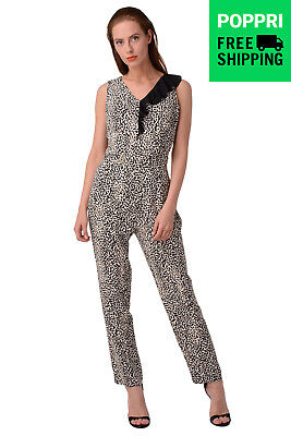 GUESS Jumpsuit Size S Cheetah Sleeveless V-Neck Made in Italy W64D64K5TU0