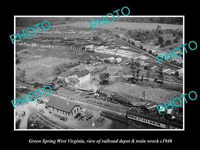 OLD LARGE HISTORIC PHOTO OF GREEN SPRING WEST VIRGINIA, THE TRAIN WRECK c1940