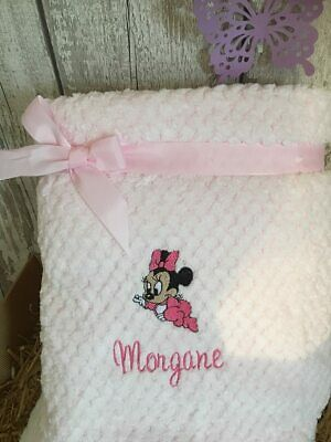 PERSONALISED  BABY  BLANKET WAFFLE FABRIC Minnie mouse  design