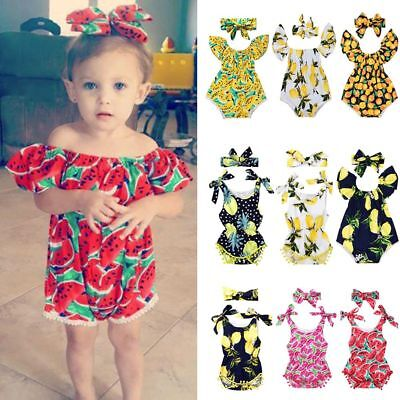 Fashion Baby Girls Watermelon Lemon Printed Romper Bodysuits with Bow Headband