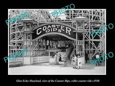 OLD LARGE HISTORIC PHOTO OF GLEN ECHO MARYLAND, THE PARK ROLLER COASTER c1930
