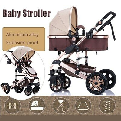 4-Wheels Baby Pram Stroller Pushchair Car  Carrycot Buggy Carriage Infant Travel