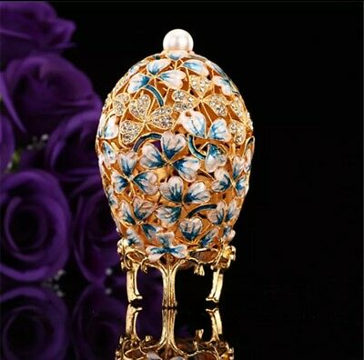 Beautiful hand painted three leaf Faberge Egg Trinket box
