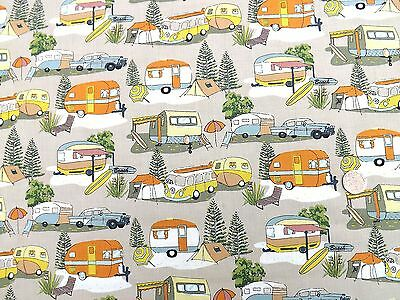 retro holidays campervans caravans fabric fq 50x56cm nutex 88730 3 100 cotton