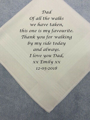 Father Of The Bride Personalised Mens Hankie Favourite Walk Dad's Wedding Gifts