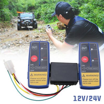 12V/24V Universal Electric Wireless Winch Dual Twin Remote Control System Switch