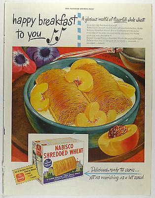 Vintage 1946 NABISCO SHREDDED WHEAT Large Full Page Magazine Print Ad