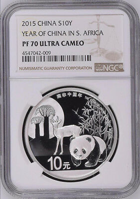 NGC PF70 2015 Year of China in South Africa Silver Panda Coin with COA