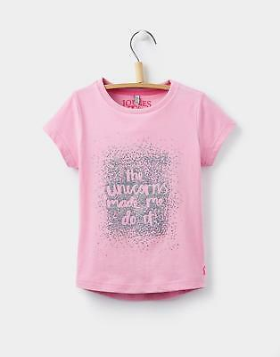 Joules Girls Pixie T-Shirt with Screen Print in Polyester in Pale Pink