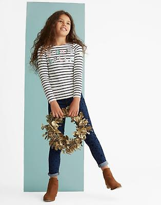 Joules Harbour Luxe Girls Jersey Top Shirt in Sizes 3-12yr in Cream Stripe