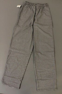 Uncommon Threads Mens Classic Baggy Chef Houndstooth Pants HD3 Black/White Small