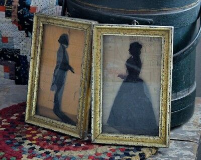 Pair of Framed Antique 19th century Paper Cut Silhouettes w/ hand drawn backing